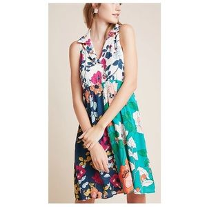 By Anthropologie Dinah Collared halter tunic dress